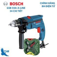 Máy khoan động lực Máy khoan gia đình Bosch GSB 550 tặng bộ X-Line 34 chi tiết Công suất 550W bảo hành điện tử 6 tháng