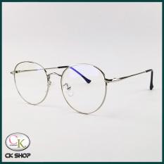 Gọng kính cận nam nữ mắt tròn kim loại màu vàng hồng, bạc, đen 9008. Tròng kính giả cận 0 độ chống ánh sáng xanh, chống tia UV