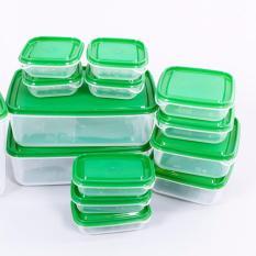 Bộ hộp nhựa 17 món đựng thức ăn dùng được trong lò vi sóng (màu xanh )