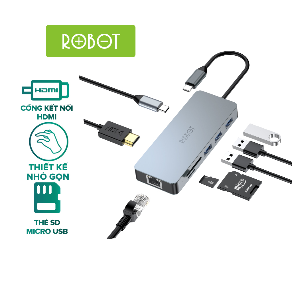 Bộ chuyển đổi 8in1 ROBOT HT380 Type-c cổng kết nối USB 3.0&2.0/ HDMI/PD/SD/TF/PD cho Macbook bộ chuyển đổi máy tính...