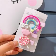 Set 3 kẹp tóc cầu vồng kẹo mút xinh xắn dễ thương phong cách Hàn Quốc cho bé yêu D17