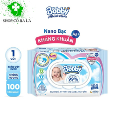 Khăn ướt Bobby không mùi 100 tờ / gói dịu nhẹ phù hợp tẩy trang, làm sạch da, đi du lịch, và cả làn da nhạy cảm của bé