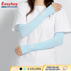 Bộ găng tay chống nắng mùa hè hình hoa cúc, găng tay chống muỗi đơn giản của phụ nữ, bảo vệ cánh tay bằng vải lạnh, chống muỗi, chống tia cực tím