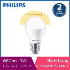 Bộ 6 Bóng đèn Philips LED Essential Gen3 7W 3000K E27 A60 (Ánh sáng vàng)