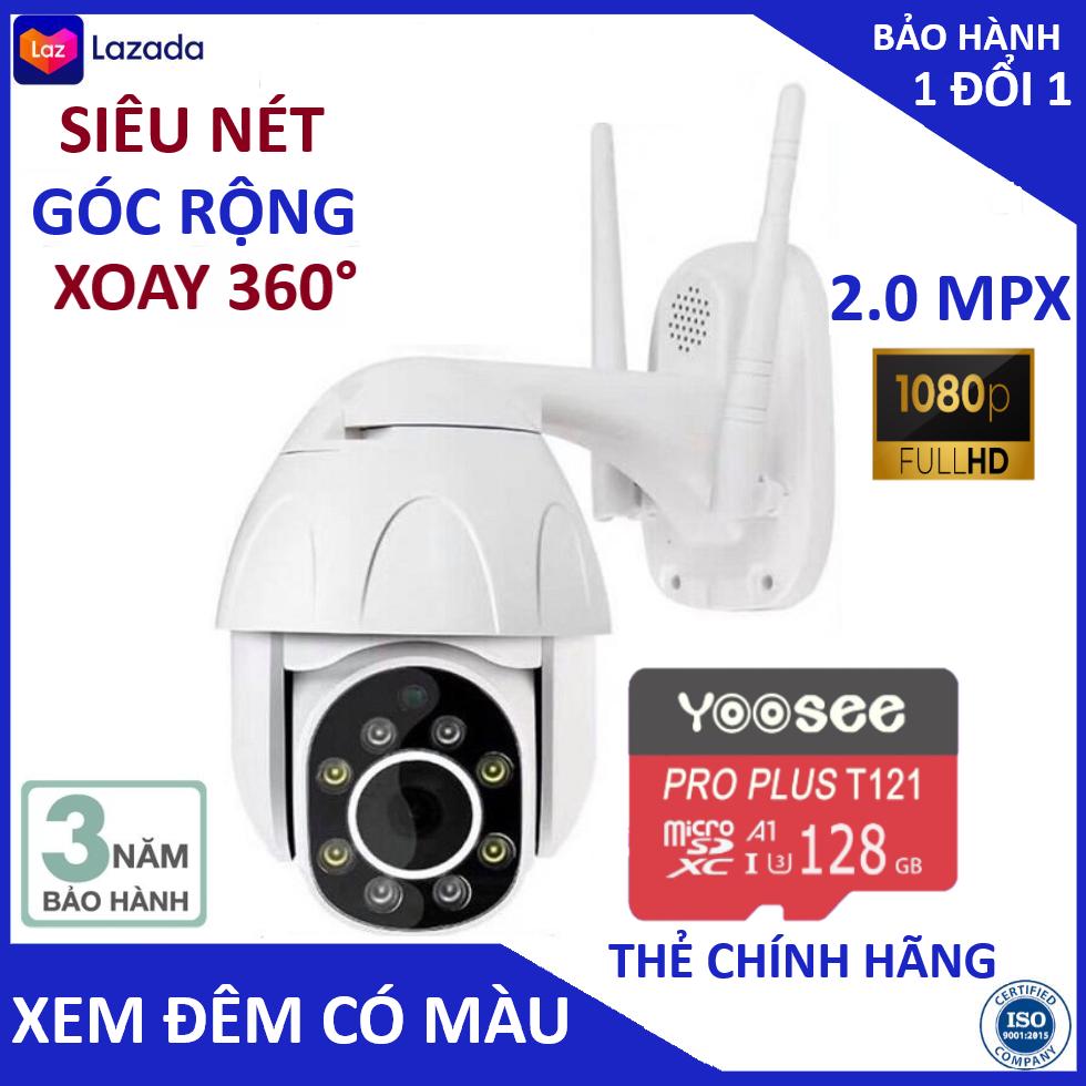 Camera yoosee ptz ngoài trời kèm thẻ nhớ và có thể tuỳ chon mua lẻ thêm thẻ nhớ với thiết kế chống nước tuyệt đối, hiển thị 2.0MPX- FULL HD 1080, hiện thị màu sắc ban đêm, xoay 360 độ