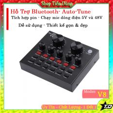 Sound card V8 có Autu tune bluetooth phiên bản tiếng anh có dây Live stream
