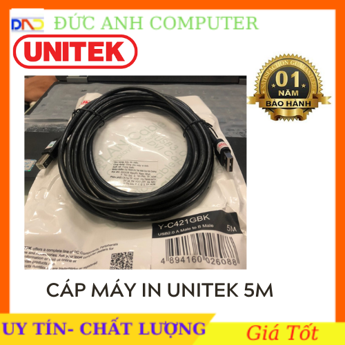 Cáp máy in cổng USB 5M – 10M UNITEK YC421 / YC431- Hàng Chính Hãng Phân Phối- Bảo Hành 12 Tháng- Có Tem Chống Hàng Giả