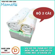 Bộ 2 khăn đa năng vải tre sợi kép cho bé 120×120 Premium Mamaru MA-KDN02 – Diệt khuẩn, hút ẩm tốt, kháng tia UV- Dmall247, mẹ và bé