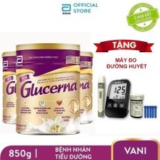 Bộ 3 lon sữa bột Glucerna 850g dành cho bệnh nhân tiểu đường Tặng Máy đo đường huyết