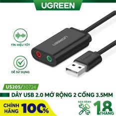 Dây USB 2.0 mở rộng sang đồng thời 2 cổng 3.5mm cho tai nghe + mic không cần driver UGREEN US205 – Hàng phân phối chính hãng – Bảo hành 18 tháng