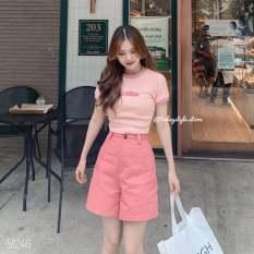 Sét áo croptop thun gân và quần short ngố cao cấp, siêu phẩm hot treen cho bạn trẻ, thời trang mới tại thuydieushop97 sn1