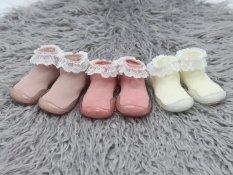 Giày bún tập đi dạng tất đế cao su chống trơn trượt cho bé gái Comfybaby phong cách công chúa và Hàn Quốc chính hãng