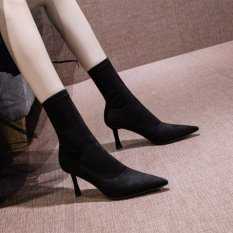 (Bảo hành 12 tháng) Giày boot nữ cổ cao gót mảnh da lộn cao cấp – Giày boot cao gót 8cm – Giày boot da lộn cổ cao 16cm – Linus LN295