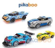 Đồ chơi Xếp hình Xe ô tô đua Pikaboo, Bộ lắp ráp 161-195 miếng ghép, chất liệu nhựa chắc khỏe, bền bóng, an toàn