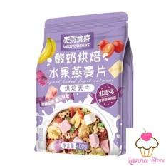 [GIẢM CÂN] Ngũ cốc sữa chua mix hạt, hoa quả YOGURT FRUIT OATMEAL gói màu Tím 400g – Đài Loan (loại có thêm cục sữa chua)