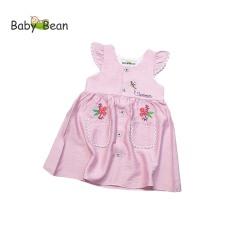 Đầm Đũi 2 Túi Thêu Hoa Tay Cánh Tiên Bé Gái BabyBean (8kg-35kg)