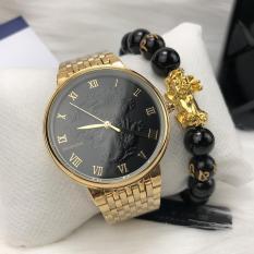 [KHUYẾN MẠI KHỦNG] Tặng vòng phong thủy 150.000đ khi mua Đồng hồ nam mặt rồng vàng trắng cao cấp, chống nước, chống xước mã 3951