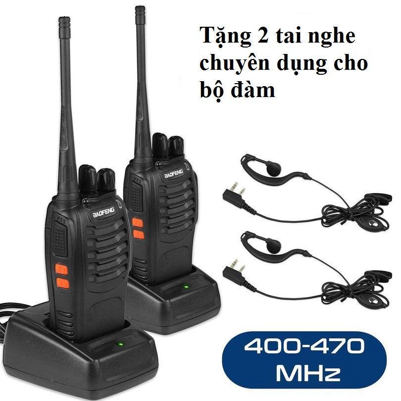 2 bộ Đàm đa năng Baofeng 16 kênh tặng 2 tai nghe bộ đàm