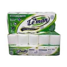 [30 cuộn] giấy vệ sinh 3 lớp Leman xanh lá cao cấp (10 cuộn/ lốc)