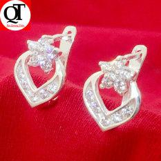 Bông tai bạc nữ Bạc Quang Thản thiết kế kiểu khuyên đeo sát tai chất liệu bạc trắng không xi mạ, phong cách thời trang phù hợp cho mọi lứa tuổi – QTBT39