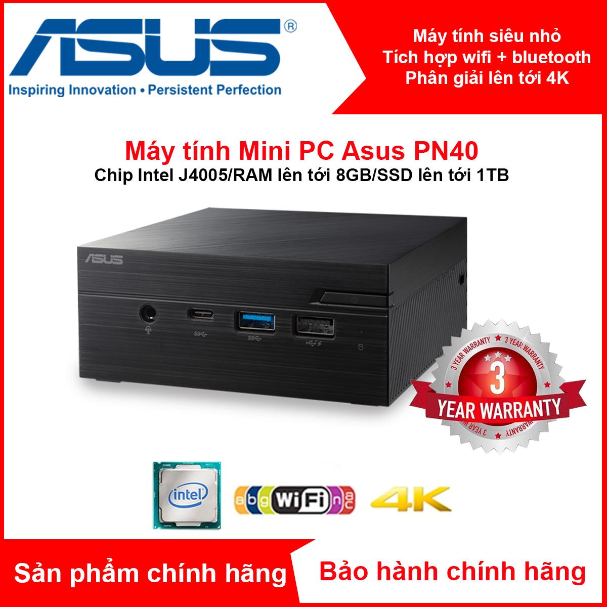 Máy tính siêu nhỏ MiniPC Asus PN40 chip Intel J4005//RAM+SSD tùy chọn/4K UHD support/Wi-Fi + Bluetooth/ USB 3.1 Gen 1 Type-C