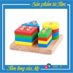 4 cọc thả hình – Bộ phân biệt màu sắc, hình khối cho bé, đồ chơi giáo dục, đồ chơi phát triển trí tuệ cho bé