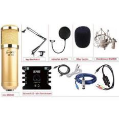 [Khuyến Mãi] Bộ livestream AMI BM900, card xox k10, dây livestream, chân kẹp míc, màng lọc âm Tặng kèm 1 tai nghe AKG