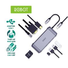 Bộ chuyển đổi 9in1 ROBOT HT490 Type-c cổng kết nối USB 3.0/2.0/ HDMI/PD/SD/TF/PD/VGA/Ultra HD 4K cho Macbook Matebook Tivi Máy Chiếu – HÀNG CHÍNH HÃNG