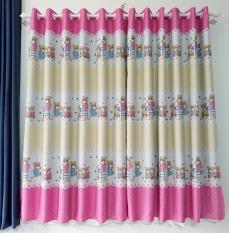 Rèm cửa sổ, cửa phòng ngủ chống nắng giá rẻ, hoạ tiết gấu hồng TNS-033