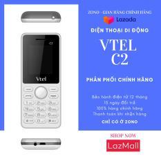 Điện thoại di động Vtel C2 (2SIM, Màu Trắng và Xám) bàn phím ấn êm tay, Giao diện đơn giản, Có chức năng FM loa ngoài, Camera sau, Pin bền, Thiết kế thời trang, Dễ sử dụng, Vừa túi tiền, 2 SIM 2 sóng – Bảo Hành 12 Tháng
