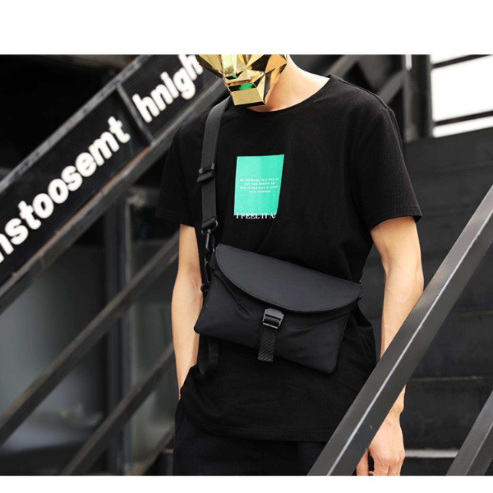 Túi Đeo chéo nam nữ unisex vải dù cao cấp có nắp chống nước (Đen) ND1