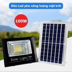 Đèn pha led năng lượng mặt trời công suất 100w, kèm tấm pin rời, có remote, có cảm biến tự động, dây nối 5m