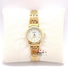 Đồng hồ nữ HALEI dây kim loại thời thượng ( HL348 dây vàng mặt trắng ) – TẶNG 1 vòng tỳ hưu phong thuỷ