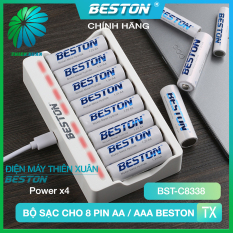 Bộ Sạc Pin AA/AAA Beston C8338 Cho Micro Karaoke loa, đồ chơi trẻ em, đồng hồ, thiết bị điện tử, đèn flash, pin máy ảnh, xe điều khiển, đèn pin siêu sáng, loa kẹo kéo, pin sạc dung lượng cao