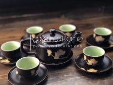 Bộ ấm trà Bát Tràng dáng trúc vẽ sen vàng (Bộ ấm chén trên có 2 màu Nâu và Xanh rêu)