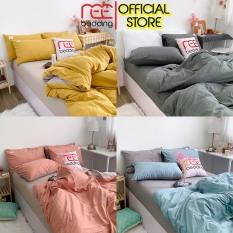 Bộ chăn ga gối Cotton TC REE Bedding trơn 4 món đủ size giường nệm 1m2, 1m4, 1m6, 1m8, 2m