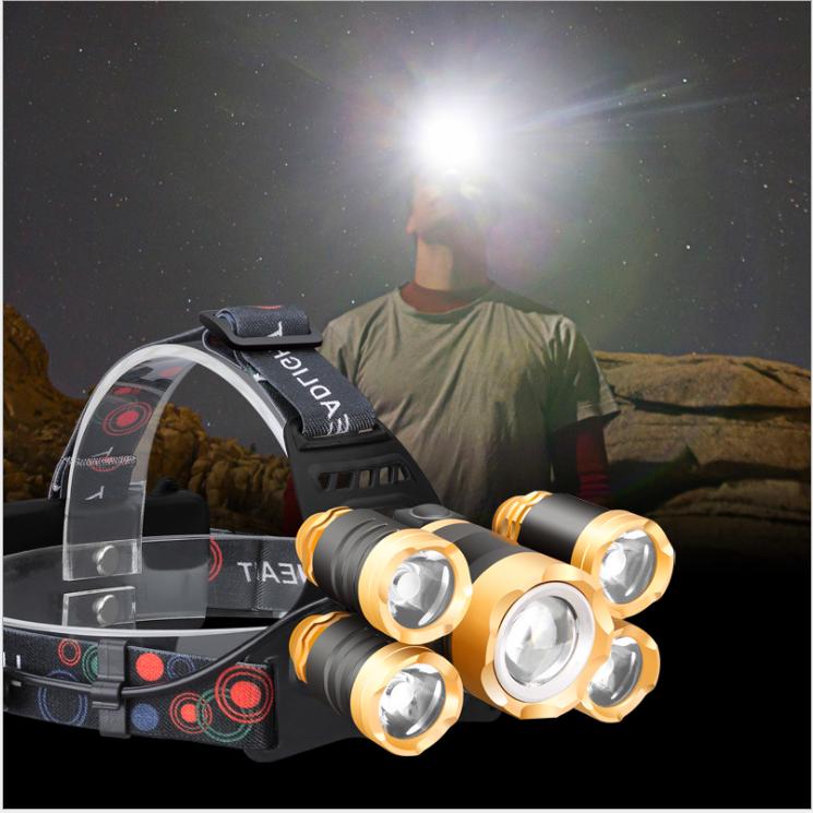 (Đèn tốt ) Đèn đội đầu 5 bóng , Đèn đội đầu siêu sáng loại tốt , tặng 2 8800mah pin và sạc, Sử dụng Chip LEDcao cấp,siêu bền,siêu sáng. Tuổi thọ cao lên tới 100.000 giờ bong. Vỏ hợp kim nhôm cao cấp,nhẹ,dễ đeo