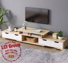 ( Giảm thêm 5% ) Kệ tivi A1960 co giãn 120-190cm, gỗ MDF phủ melamin chống thấm (Màu vàng)