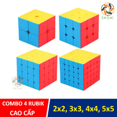 Bộ 4 Rubik Cube loại Không Viền CAO CẤP, Đồ chơi Rubik 2×2, 3×3, 4×4, 5×5 xoay mượt, bẻ góc tốt, Bộ đồ chơi Rubik 2 tầng, 3 tầng, 4 tầng, 5 tầng – Đồ chơi trí tuệ cho bé – LICLAC