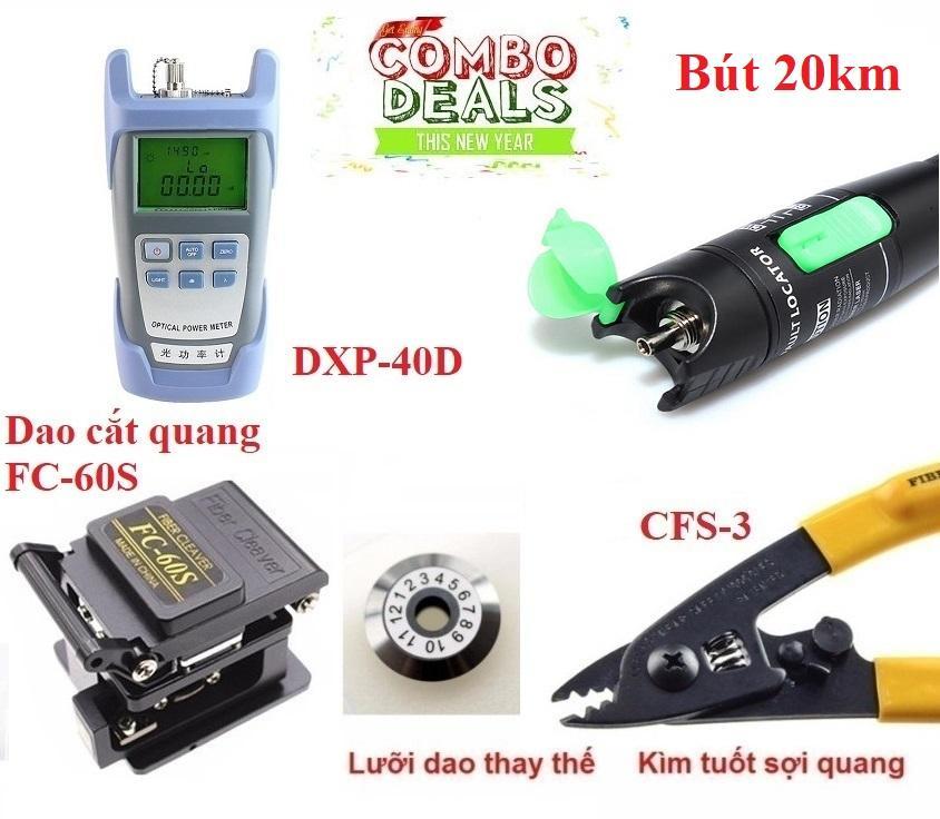 Bộ thi công cáp quang :Máy đo suy hao quang HX + Dao cắt sợi quang FC-60S + Bút soi...