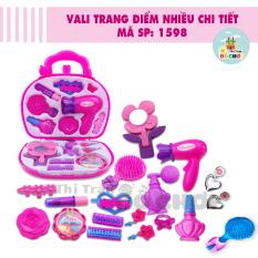 [Có video] Đồ chơi vali trang điểm nhiều chi tiết (son môi, phấn mắt, gương, hoa tai…)màu hồng cho bé gái 1598AB – Thị trấn đồ chơi