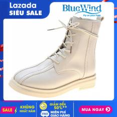 Mẫu Boots hot trend của năm 2021 cao 20cm, ôm chân, dây buộc, chất liệu bằng da siêu bền mã 68717 Bluewind