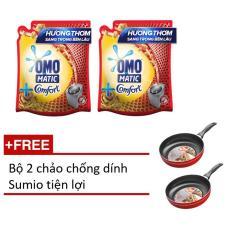 Combo 2 túi nước giặt Omo matic tinh dầu thơm 2.4kg tặng bộ 2 chảo Sumio tiện lợi