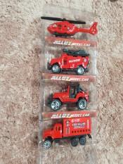Bộ 4 xe sắt cứu hoả mini chạy đà màu đỏ dành cho bé trai, Bo 4 xe sat cuu hoa mini chay da may do danh cho be trai