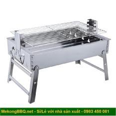 Bếp nướng than hoa cao cấp Mekongtech thay đổi chiều cao vỉ gấp gọn tiện dụng không khói lò nướng ngoài trời ( hình chữ nhật)