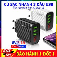 Củ sạc nhanh đa năng 3 cổng USB có mà hình led hiện thị điện áp, có tính năng mới ngăn quá dòng, quá nhiệt giúp an toàn cho các thiết bị, phù hợp với các dòng dòng điện thoại iphone, sam sung, huawi, redmi….