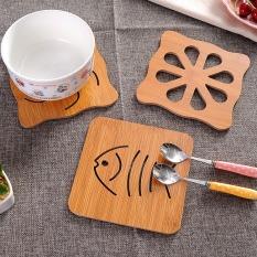 Đế lót cốc chén bằng gỗ đế cao su cao cấp dày 0.7cm kích thước 9,5×9,5cm