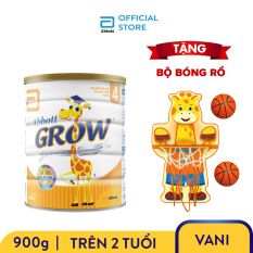[GIẢM 30K CHO ĐƠN 399K] Lon sữa bột Abbott Grow 4 900g Tặng Bộ bóng rổ