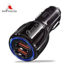 Tẩu sạc ô tô QC3.0 2 cổng USB 5V/3A sạc siêu nhanh LED viền tẩu sạc nhanh ô tô củ sạc nhanh dành cho ô tô,dock sac o to , cu sac nhanh 2 cong usb