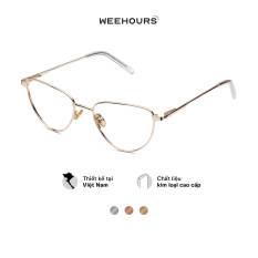 Gọng kính cận nữ WeeHours CHIC, dáng mắt mèo thời trang, chất liệu kim loại không gỉ